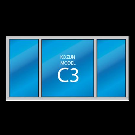 3 vaks kozijn vast glas C3