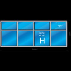 8- vaks kozijn Model – H met draairaam en/of uitzetraam