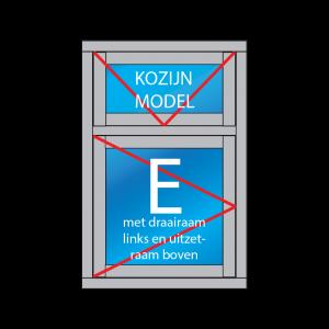 houten kozijn model E met draairaam links en uitzet boven