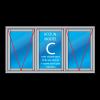 3-vaks kozijn hardhout met uitzetramen links en rechts en vast glas raam midden