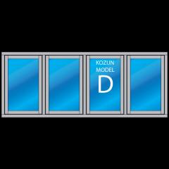 hardhout kozijn 4 vaks met ramen