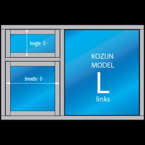 """3- vaks Kozijn met draai- en/of uitzetraam """"Model – L – links"""""""