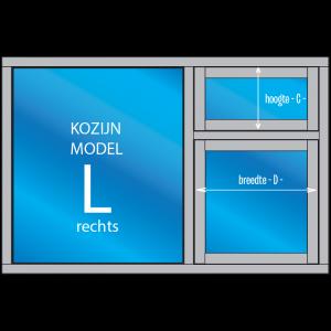 3- vaks Kozijn met draai- en/of uitzetraam Model – L – rechts