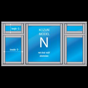 """5- vaks Kozijn met draai- en/of uitzetraam """"Model – N"""""""