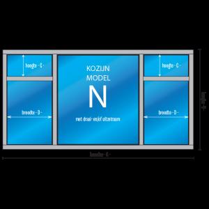 5- vaks Kozijn met draai- en/of uitzetraam Model – N