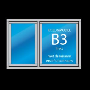 2- vaks kozijn Model – B3 links met draairaam en/of uitzetraam