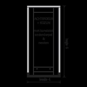 standaard hardhout achterdeur kozijn met deur en kunststof onderdorpel en neuten