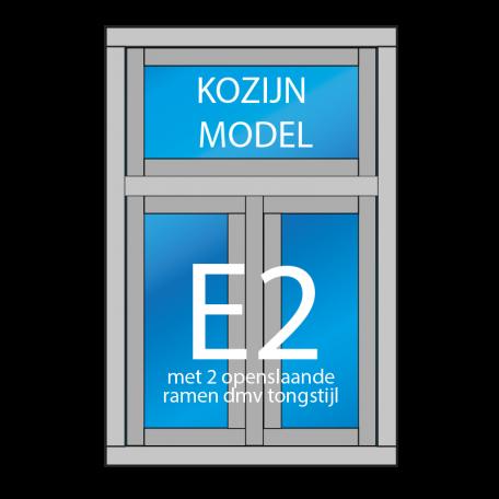 kozijn E2 met 2 openslaande ramen met tongstijl en een raam of vast glas boven
