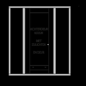 achterdeurkozijn met zijlichten, hardhout onderdorpel en deur 2 stapeldorpels