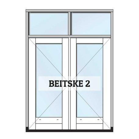 beitske 1 - complete set tuindeuren met kozijn, gedeeld bovenlicht en glas