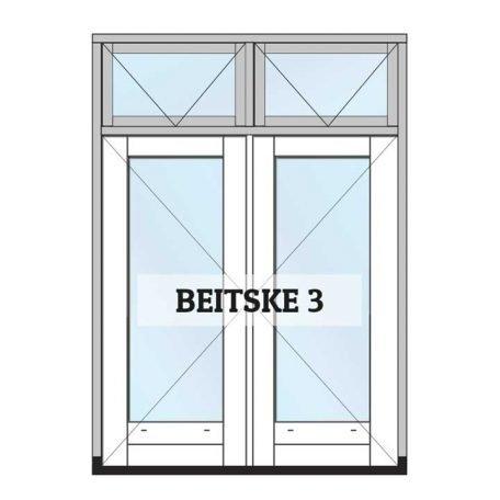 beitske 3 - complete set tuindeuren met kozijn, gedeeld bovenlicht, ramen en glas