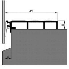 Tochtslijtstrip 49x8mm alu – p/m